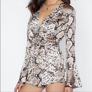 Nasty Gal Animal Print Romper. SZ 2. EUC